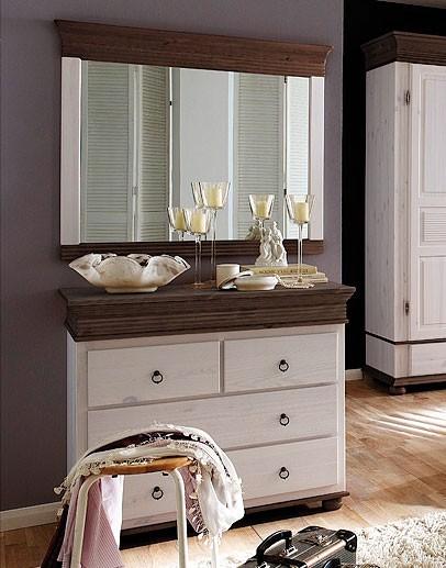 massivholz kommode mit wandspiegel kiefer massiv 2 farbig wei kolonial. Black Bedroom Furniture Sets. Home Design Ideas