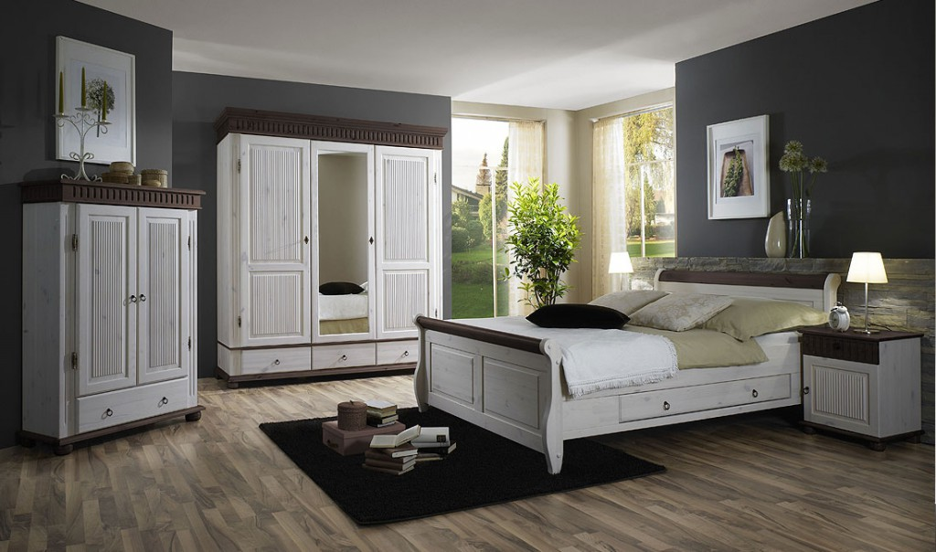 massivholz schlafzimmer set 5teilig komplett kiefer massiv wei kolonial. Black Bedroom Furniture Sets. Home Design Ideas