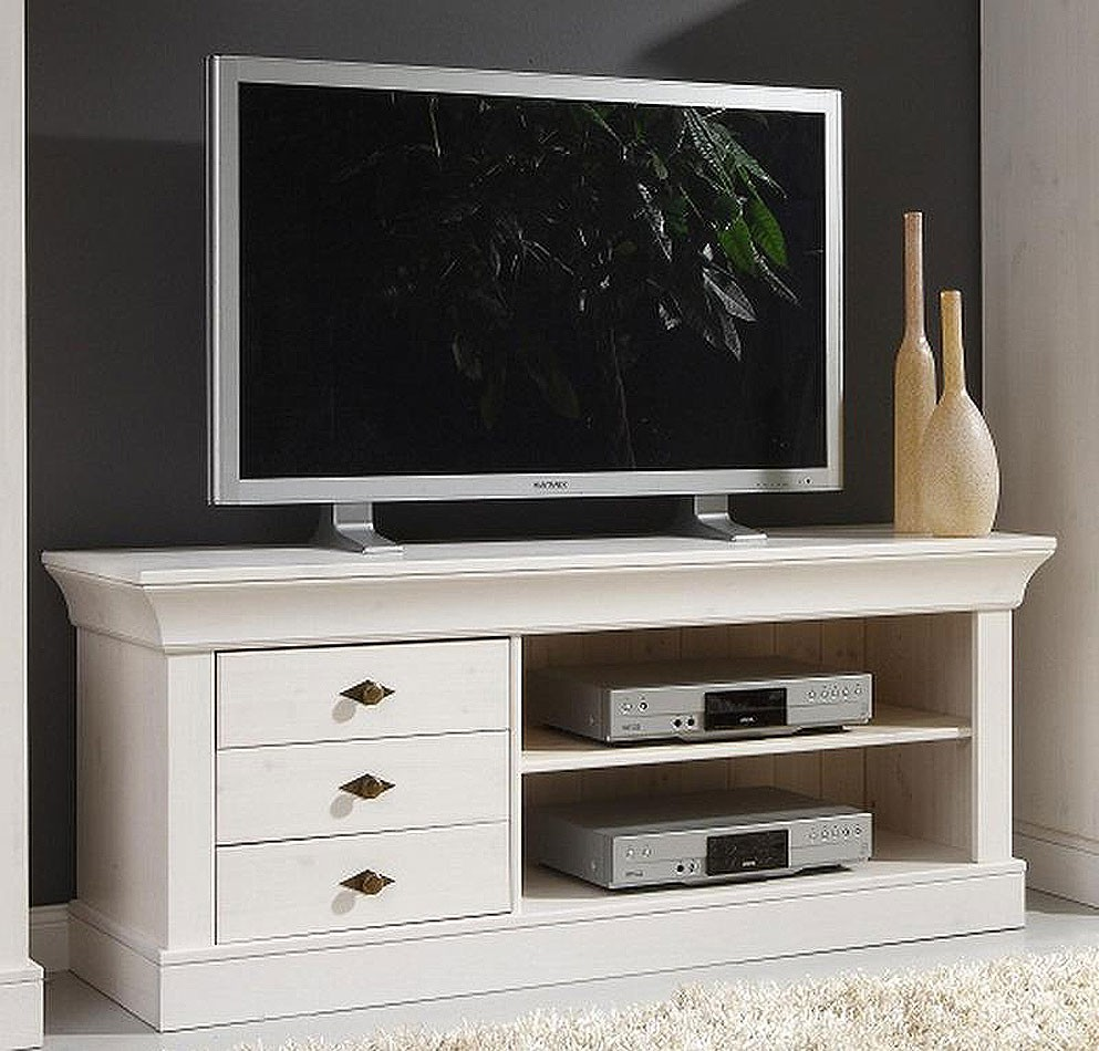 massivholz tv lowboard tv m bel tv kommode bergen kiefer massiv wei. Black Bedroom Furniture Sets. Home Design Ideas