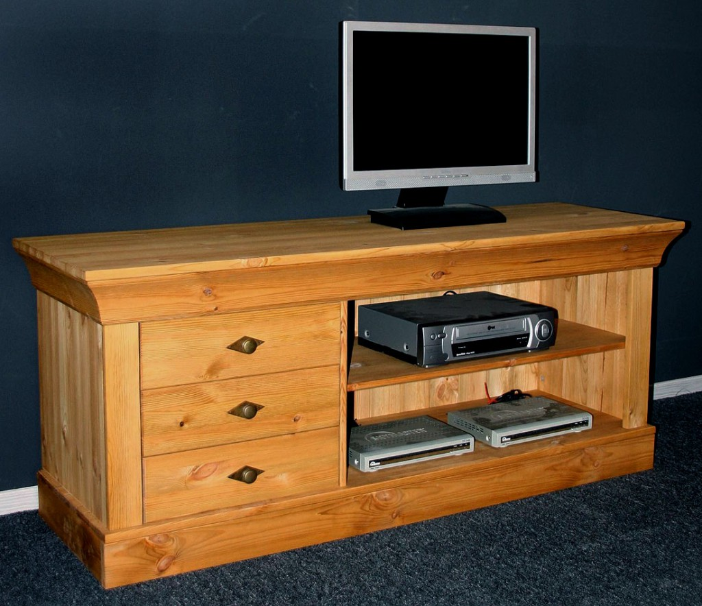 massivholz tv lowboard tv m bel tv kommode bergen kiefer massiv wei gelaugt. Black Bedroom Furniture Sets. Home Design Ideas