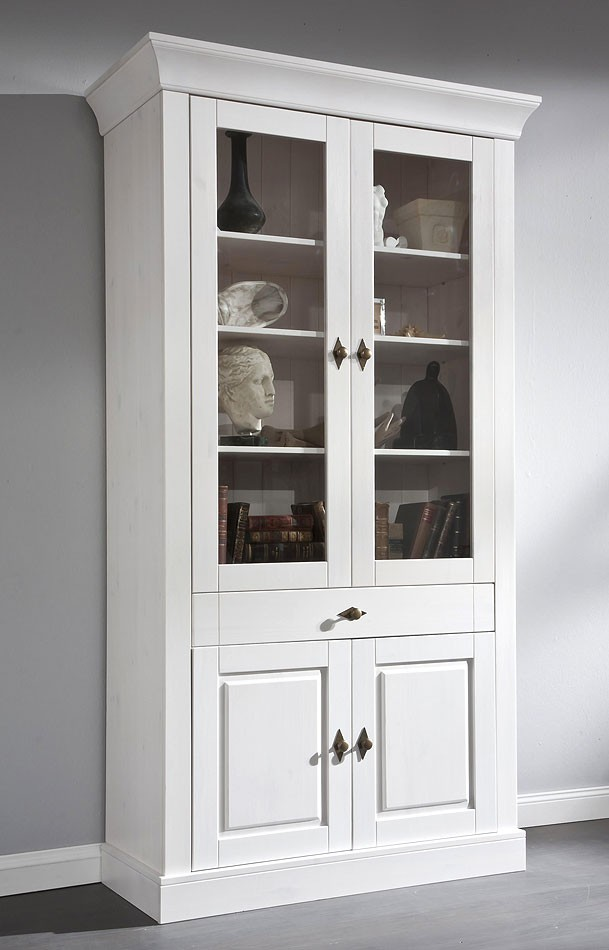 massivholz vitrine vitrinenschrank schrank bergen kiefer massiv wei. Black Bedroom Furniture Sets. Home Design Ideas