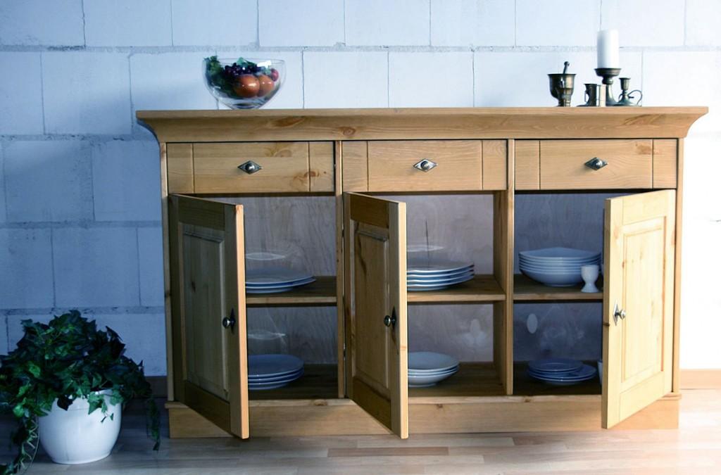 massivholz sideboard anrichte kommode kiefer massiv gelaugt ge lt. Black Bedroom Furniture Sets. Home Design Ideas