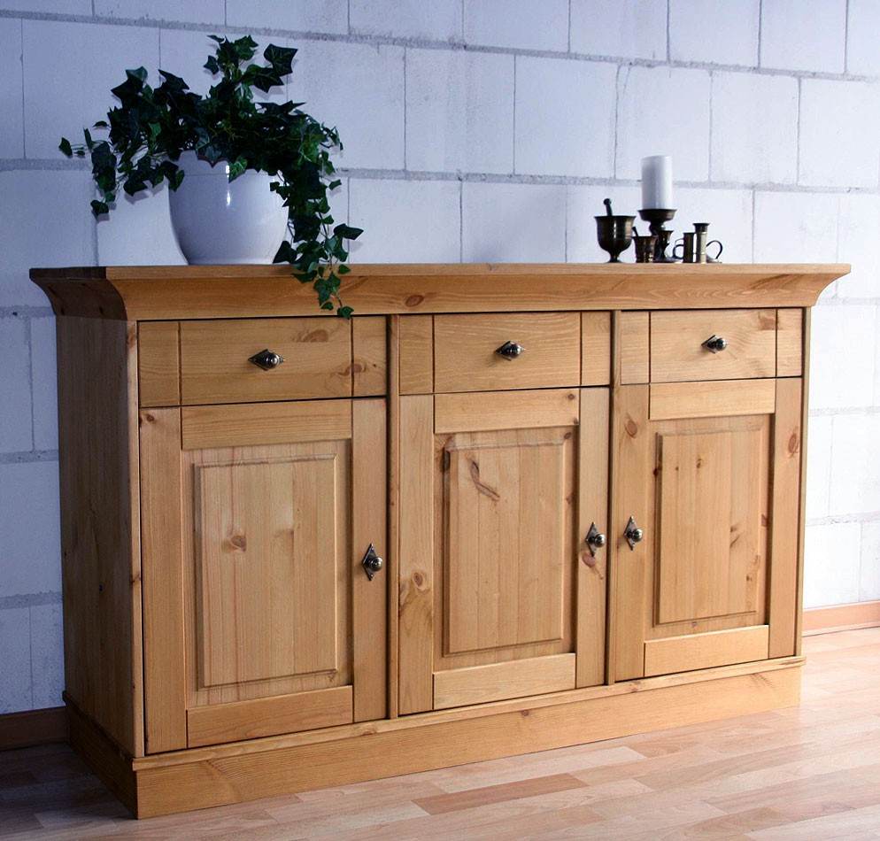 massivholz sideboard anrichte kommode kiefer massiv gelaugt ge lt. Black Bedroom Furniture Sets. Home Design Ideas