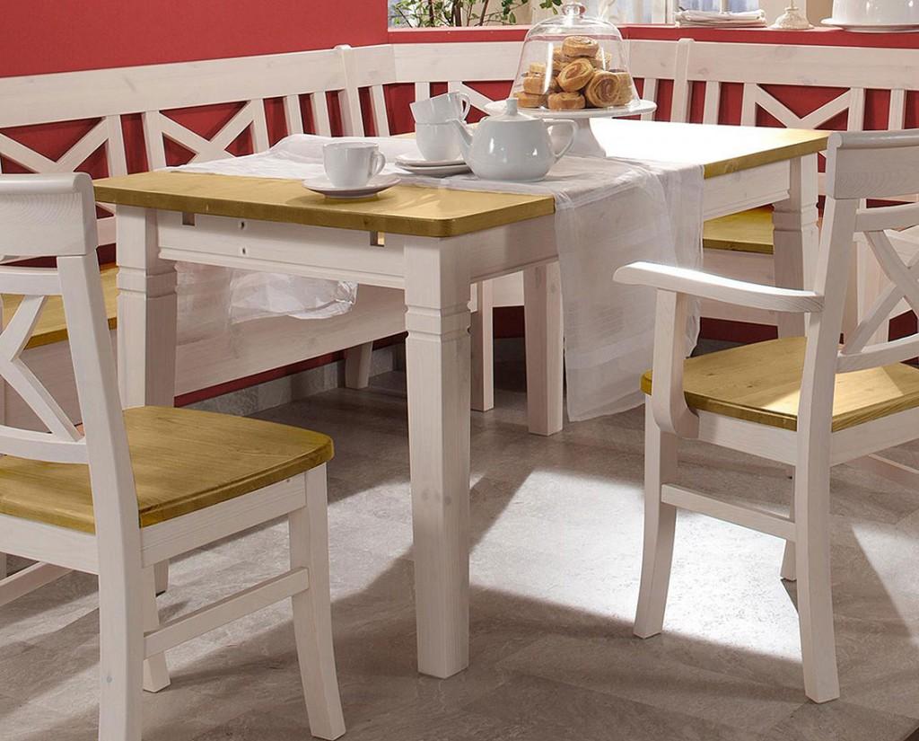 massivholz esstisch 180cm tisch k chentisch kiefer massiv wei gelaugt. Black Bedroom Furniture Sets. Home Design Ideas