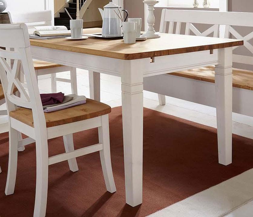 Esstisch Massivholz Weiß : Massivholz Esstisch 180cm Tisch Küchentisch Kiefer massiv weiß