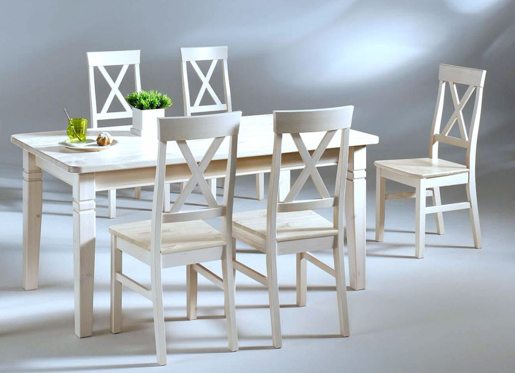 Massivholz Essgruppe Tischgruppe 160cm Sitzgruppe Kiefer massiv weiß