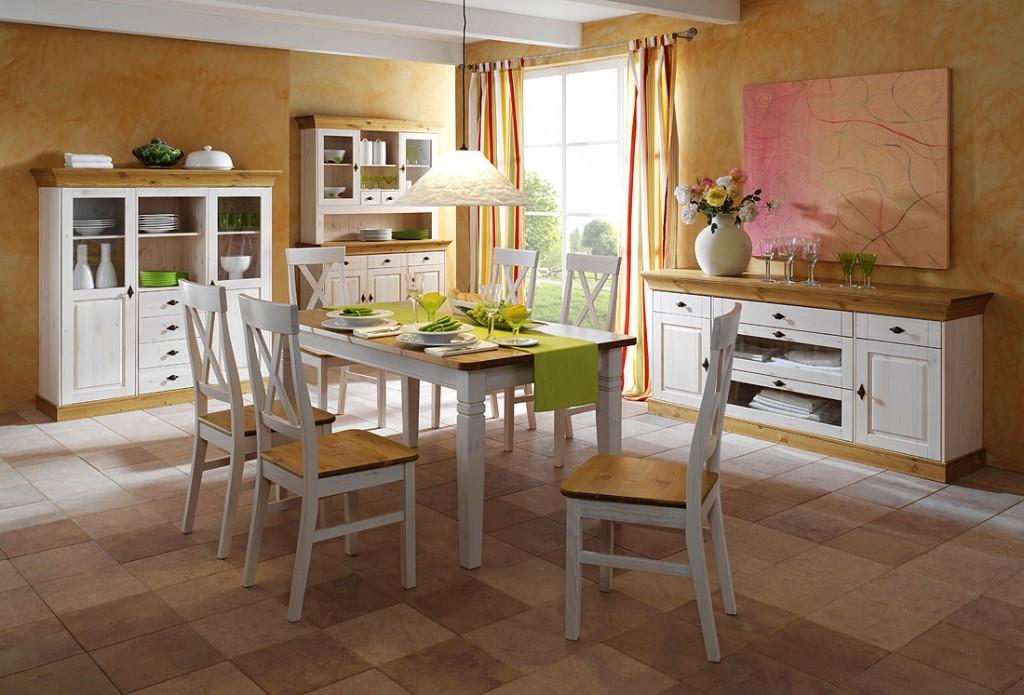 Massivholz Esszimmer Möbel komplett Set Kiefer massiv weiß ...
