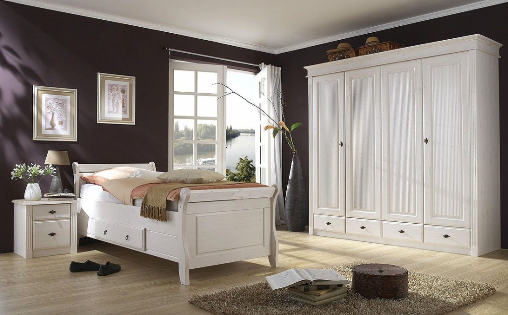 massivholz bett mit schubladen 140x200 cm holzbett kiefer massiv wei. Black Bedroom Furniture Sets. Home Design Ideas
