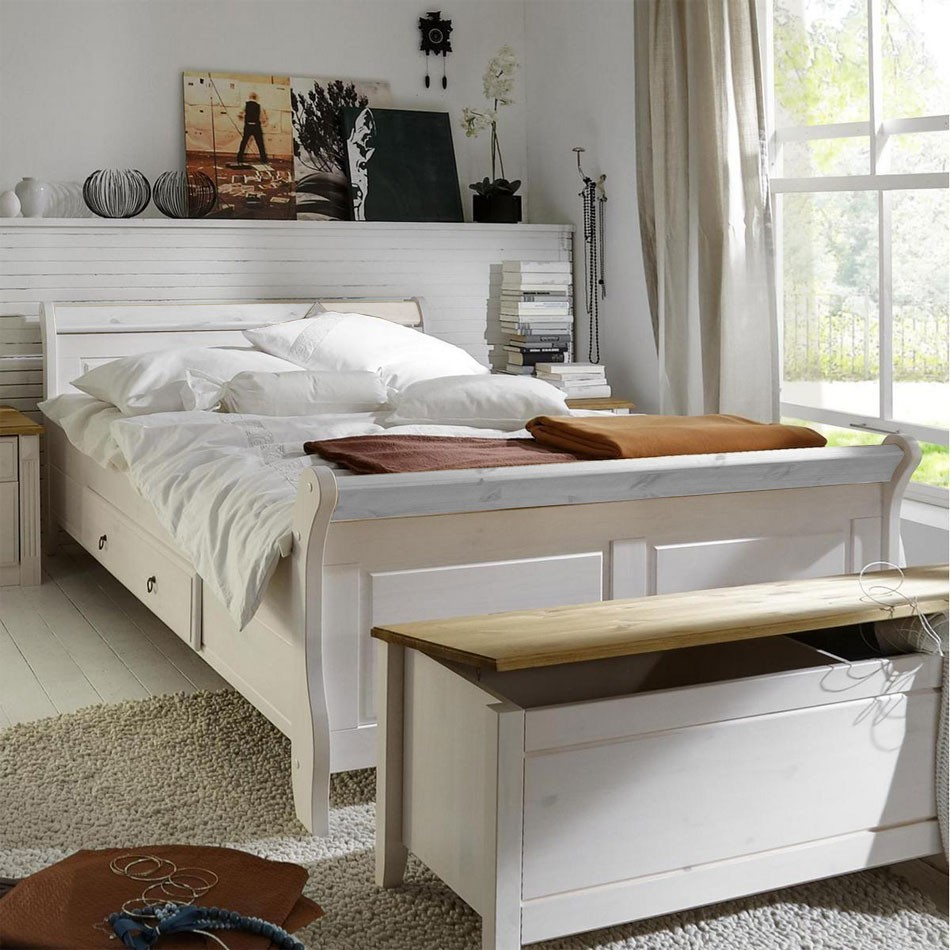 massivholz doppelbett mit schubladen 200x200 holzbett kiefer massiv wei. Black Bedroom Furniture Sets. Home Design Ideas