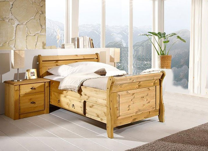 massivholz bett mit schublade 100x200 holzbett kiefer massiv gelaugt. Black Bedroom Furniture Sets. Home Design Ideas