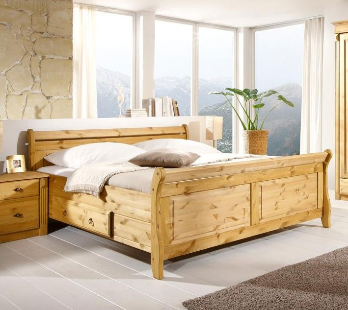 massivholz doppelbett mit schubladen 180x200 kiefer massiv gelaugt. Black Bedroom Furniture Sets. Home Design Ideas