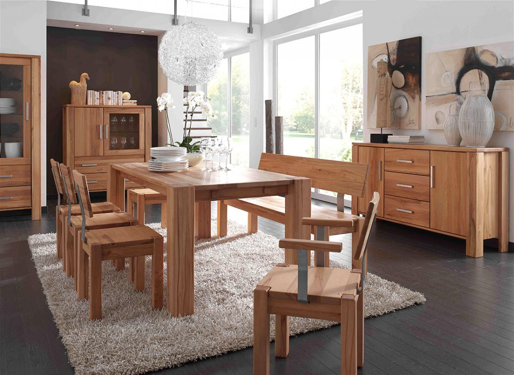 ... Collection Massivholz Esszimmer Set komplett 10teilig Kernbuche