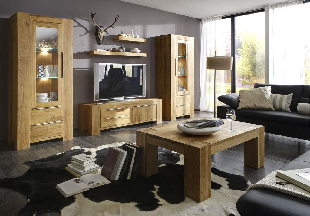 wohnzimmer wildeiche massiv haus design ideen. Black Bedroom Furniture Sets. Home Design Ideas
