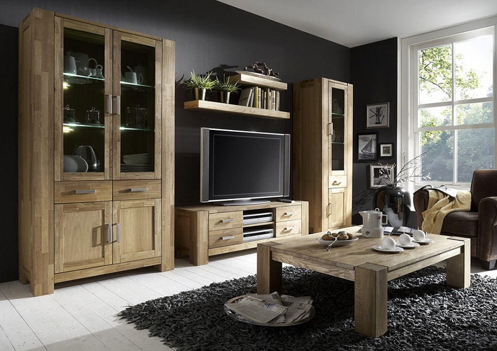 massivholz wohnwand anbauwand 4teilig wildeiche massiv ge lt. Black Bedroom Furniture Sets. Home Design Ideas