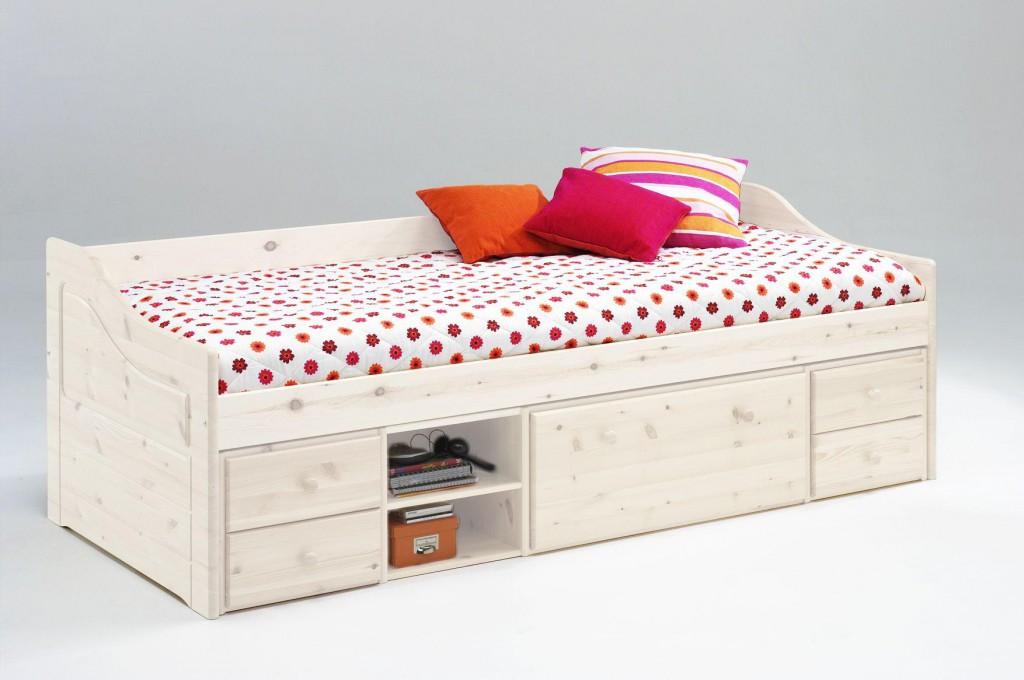 massivholz kojenbett 90x200 kiefer massiv wei funktionsbett kinderbett holzbett. Black Bedroom Furniture Sets. Home Design Ideas