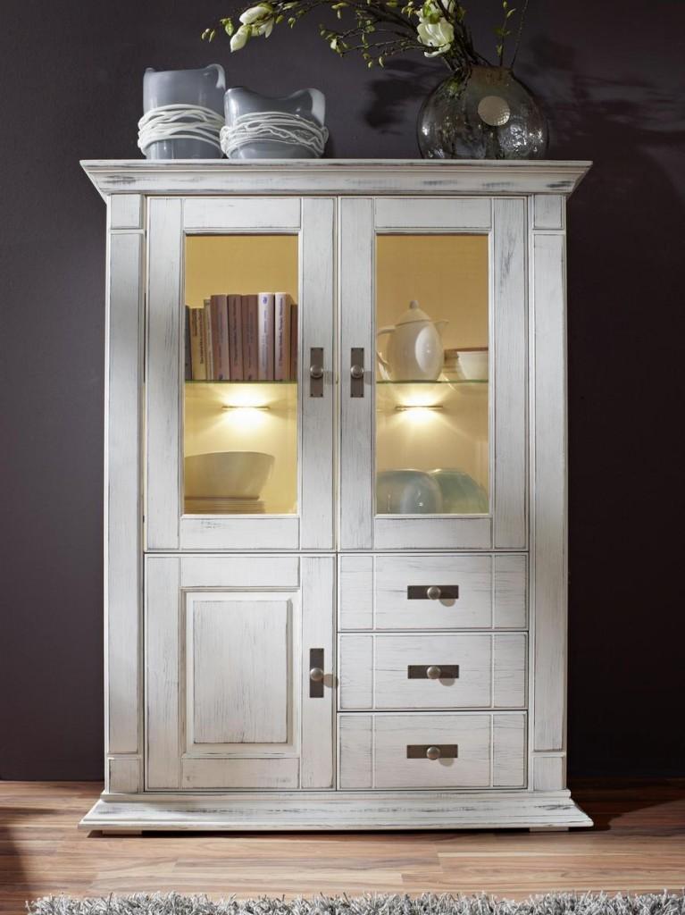 massivholz highboard wei vitrine kiefer shabby chic. Black Bedroom Furniture Sets. Home Design Ideas
