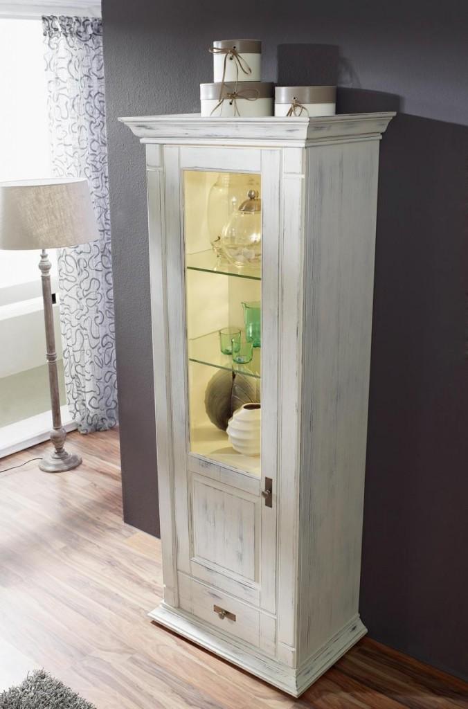 massivholz vitrine 1t rig wei turm kiefer shabby chic. Black Bedroom Furniture Sets. Home Design Ideas