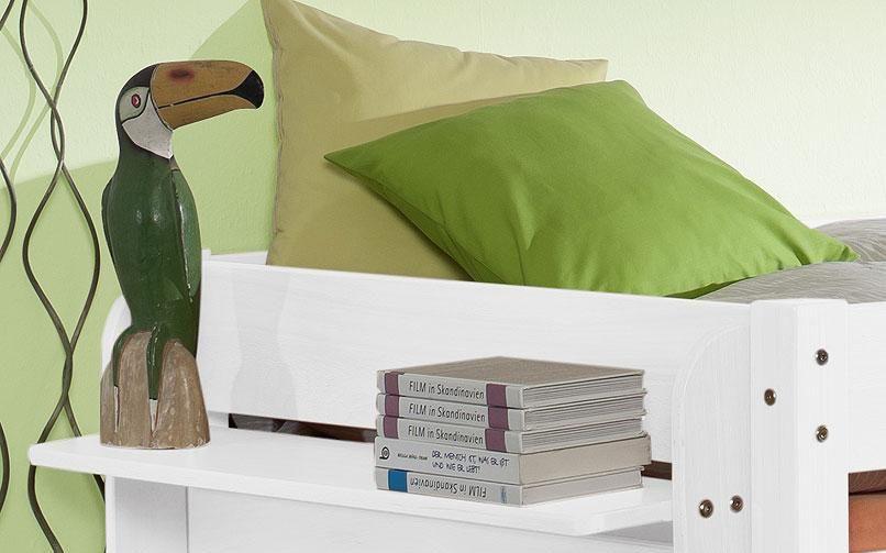 Massivholz Hängeregal mit 1 Ablage Buche massiv weiß lackiert