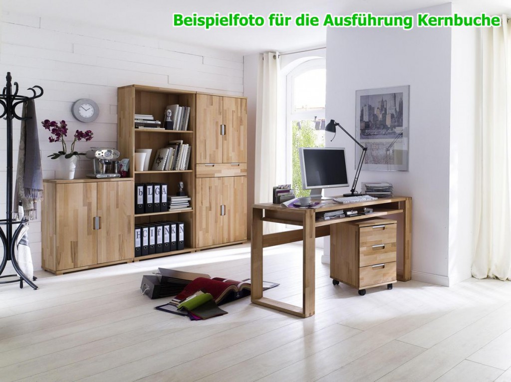 schreibtisch mit metallgestell computertisch 140x70 kernbuche massiv ge lt gewachst. Black Bedroom Furniture Sets. Home Design Ideas