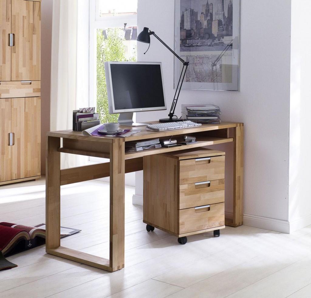 massivholz schreibtisch mit. Black Bedroom Furniture Sets. Home Design Ideas