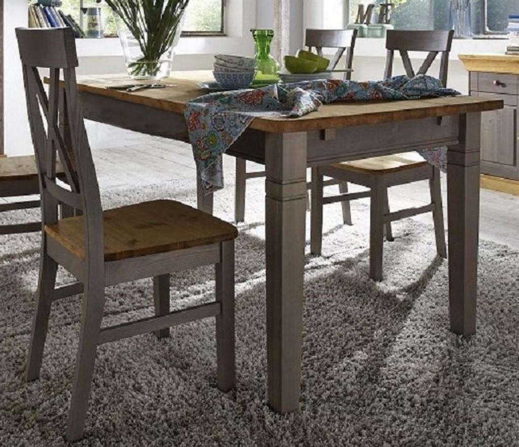 massivholz esstisch 160cm tisch k chentisch kiefer massiv grau gelaugt. Black Bedroom Furniture Sets. Home Design Ideas