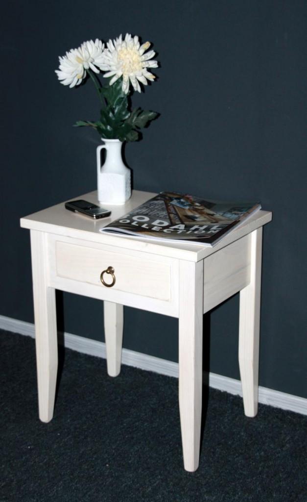 nachttisch cremewei lasiert nachtkommode beistelltisch. Black Bedroom Furniture Sets. Home Design Ideas