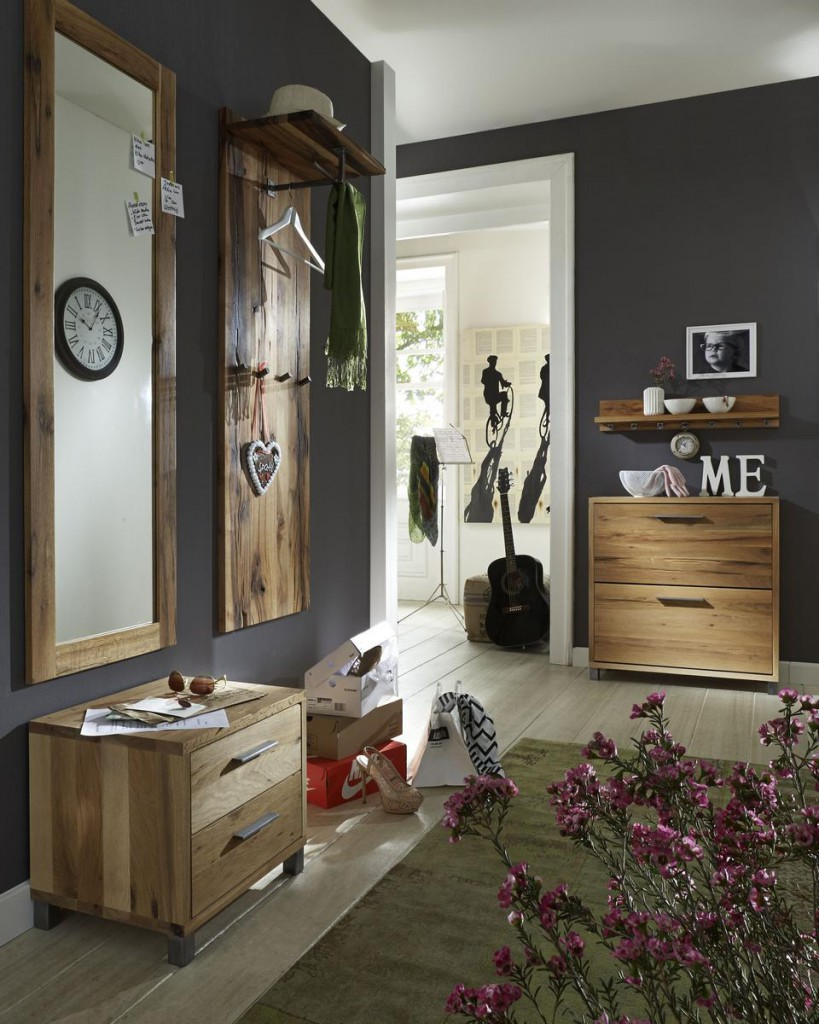 dielen set 5 teilig balkeneiche ge lt dielenm bel eiche massiv. Black Bedroom Furniture Sets. Home Design Ideas