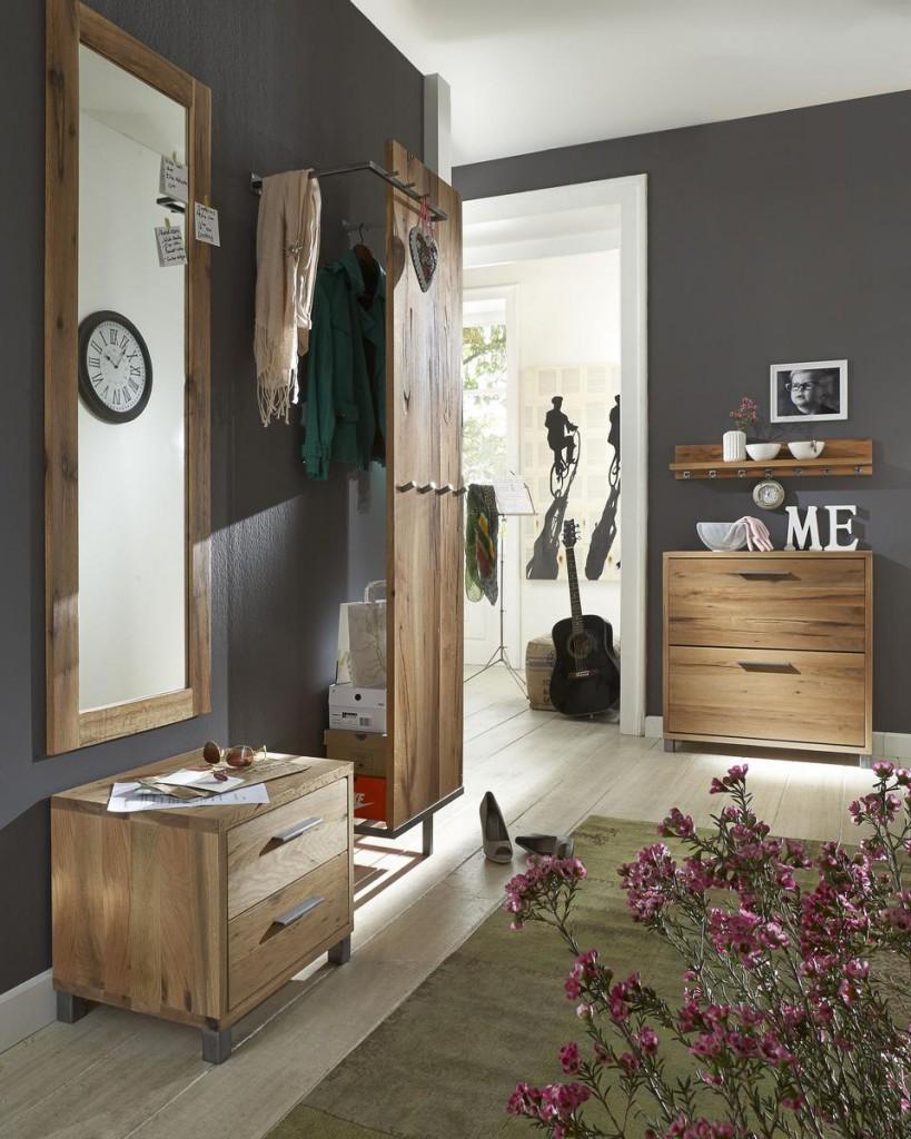 flurm bel set 5 teilig balkeneiche ge lt dielenm bel eiche massiv. Black Bedroom Furniture Sets. Home Design Ideas