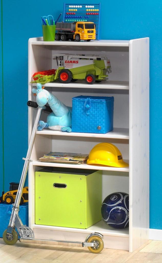 Casa Massivholz Regal Bücherregal Büroregal 64x123 For Kids - Holz Kiefer massiv weiß Steens For Kids